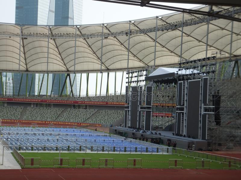 Shenzhen, China: a big concert is held in the stadium. At night, a large concert will be held in the stadium, during the day, the stage sound effect adjustment stock photography