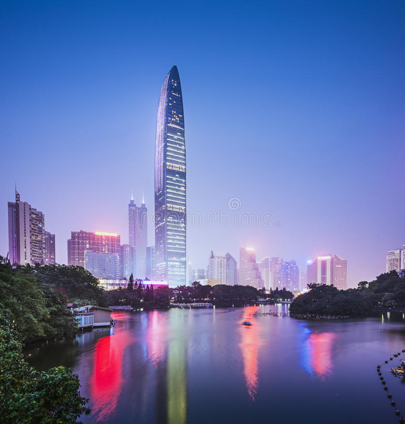 Shenzhen, China. City skyline at twilight royalty free stock photos
