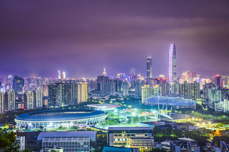 Shenzhen, China. City skyline at twilight stock photos