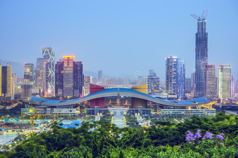 Shenzhen, China. City skyline at twilight in the Civic Center district stock photography
