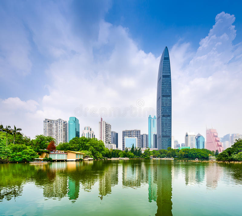 Shenzhen China. Shenzhen, China cityscape from Lychee Park stock photography