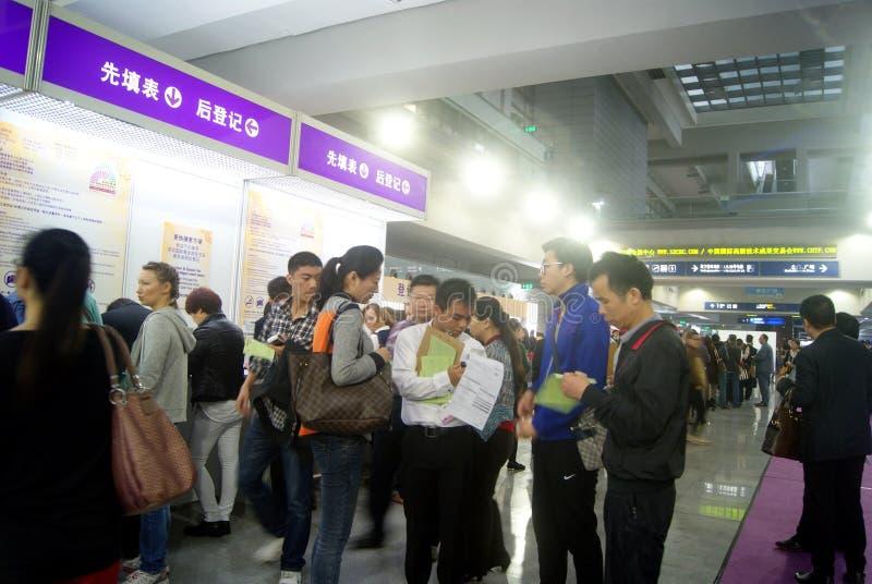Shenzhen, China: de internationale juwelententoonstelling, veiligheid is zeer strikt stock foto's