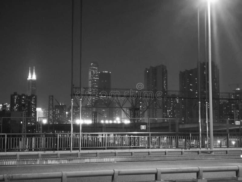 Shenzhen, China, de scène van de stadsnacht stock afbeeldingen