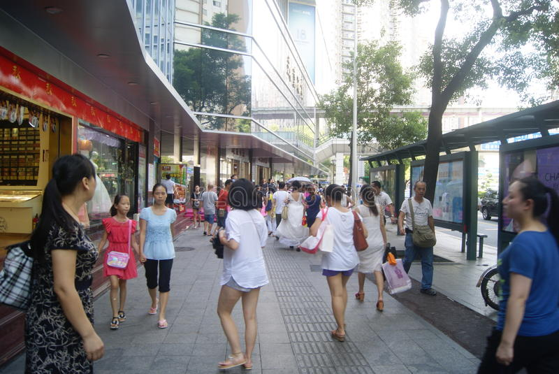 Shenzhen, China: Dongmen commercial pedestrian street landscape. Shenzhen Luohu Dongmen commercial pedestrian street landscape. The Dongmen business street is stock photography