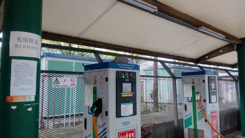 Shenzhen, China: Elektro-Mobil-Ladestation und Aufladungsanlagen-Landschaft stockbilder
