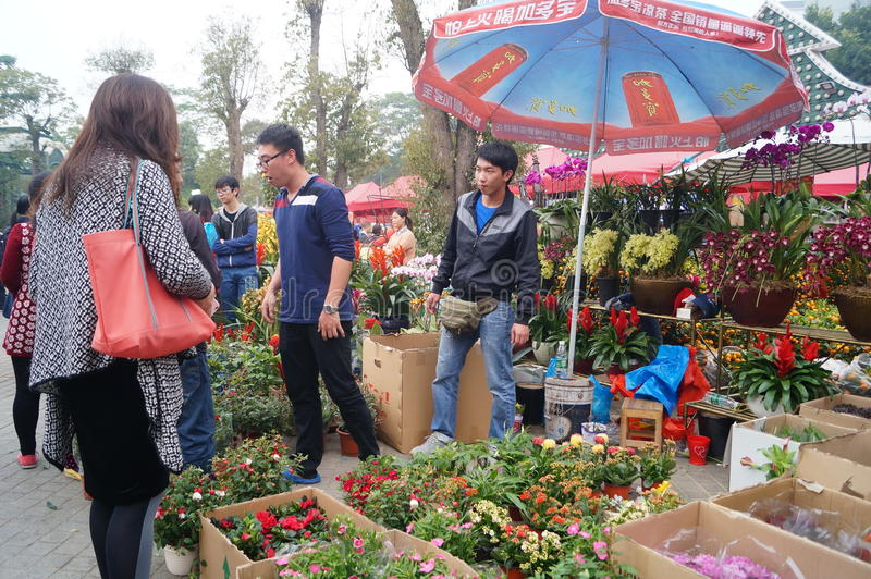 Shenzhen, China: Flower Market. Shenzhen Nanshan Holland Town, held the flower market, a lot of people to buy flowers. This is the Guangdong area folk customs royalty free stock photos