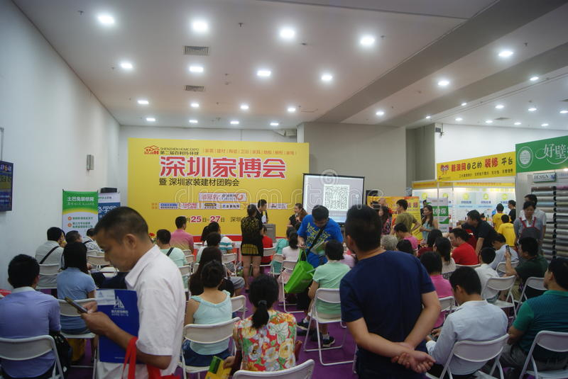 Shenzhen, China: Furniture Exhibition Forum. Shenzhen Convention and Exhibition Center, furniture exhibition forum held. A lot of people involved, answer stock photo