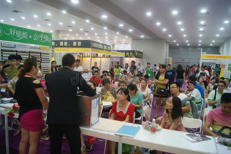Shenzhen, China: Furniture Exhibition Forum. Shenzhen Convention and Exhibition Center, furniture exhibition forum held. A lot of people involved, answer royalty free stock photography