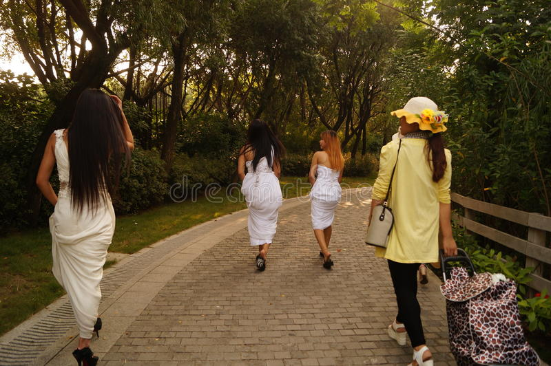 Shenzhen, China: girls in outdoor photography royalty free stock photography