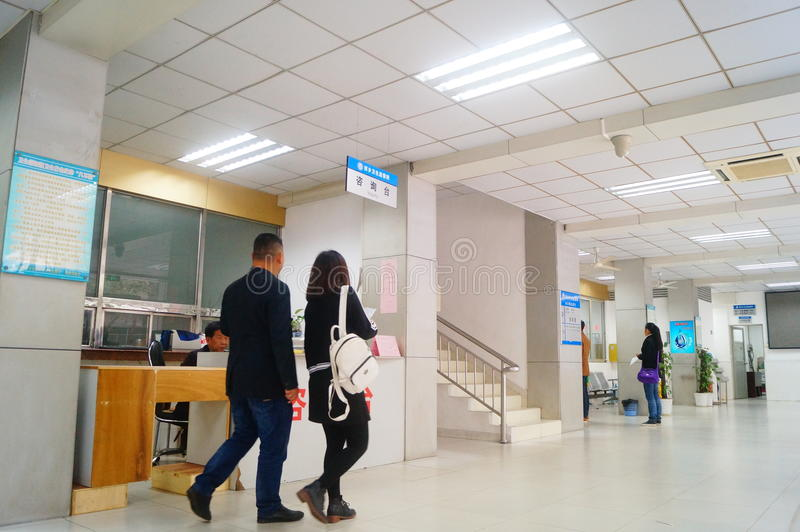 Shenzhen, China: health and epidemic prevention station room, workers are doing physical examination. Baoan Xixiang health and epidemic prevention station, to royalty free stock images