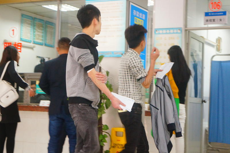 Shenzhen, China: health and epidemic prevention station room, workers are doing physical examination. Baoan Xixiang health and epidemic prevention station, to royalty free stock image