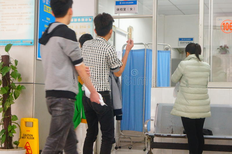 Shenzhen, China: health and epidemic prevention station room, workers are doing physical examination. Baoan Xixiang health and epidemic prevention station, to stock photo