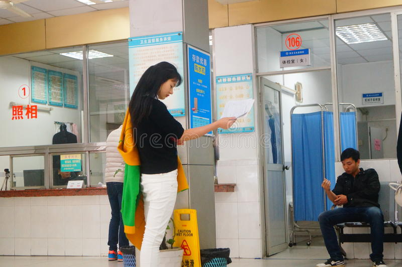 Shenzhen, China: health and epidemic prevention station room, workers are doing physical examination. Baoan Xixiang health and epidemic prevention station, to stock photography
