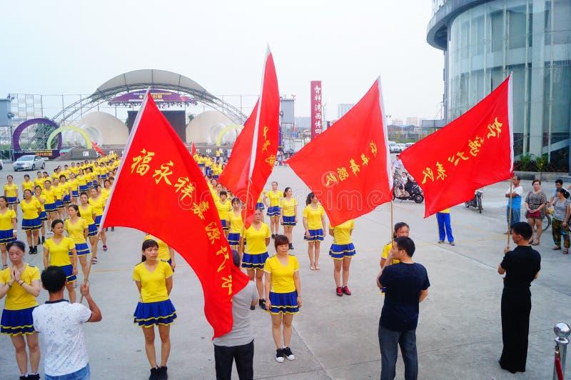 Shenzhen, China: het Quadrilleconcurrentie van duizend mensen royalty-vrije stock afbeelding