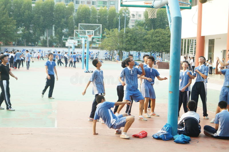 Shenzhen, China: High School Students Sports Division. Baoan District, Shenzhen Bay high school, on the playground, the students are on the Sports Division royalty free stock photos