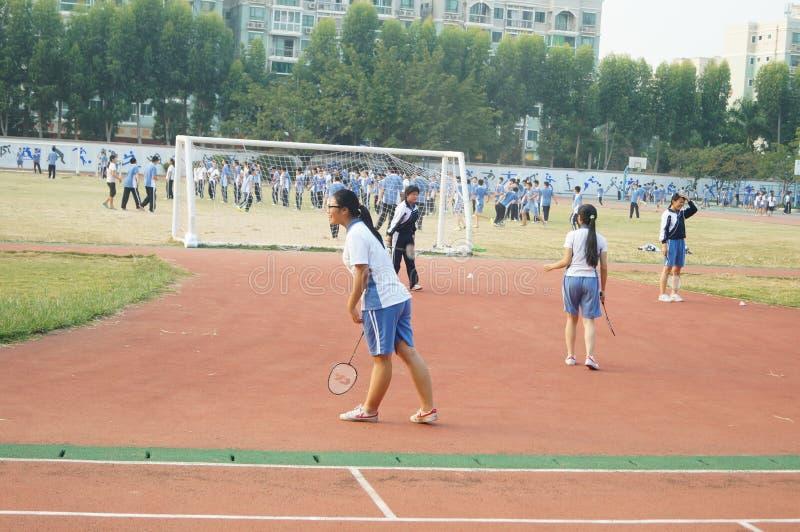 Shenzhen, China: High School Students Sports Division. Baoan District, Shenzhen Bay high school, on the playground, the students are on the Sports Division stock photos