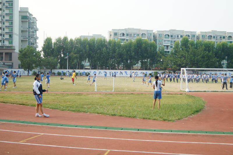 Shenzhen, China: High School Students Sports Division. Baoan District, Shenzhen Bay high school, on the playground, the students are on the Sports Division royalty free stock images