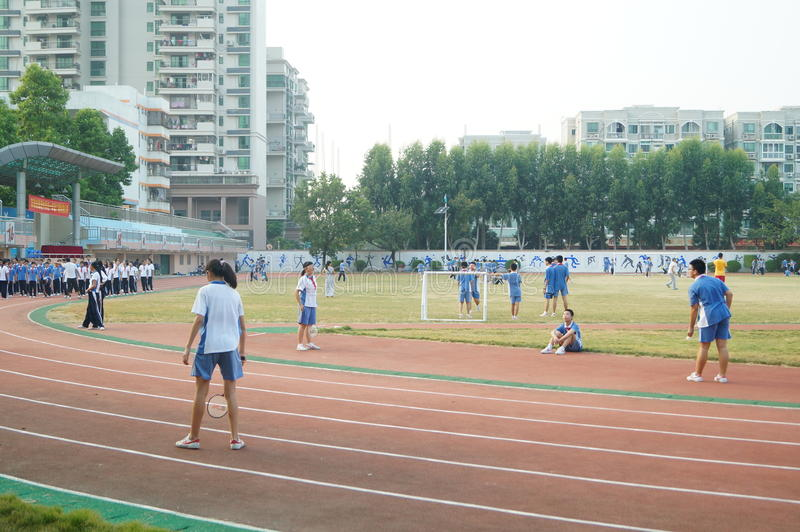 Shenzhen, China: High School Students Sports Division. Baoan District, Shenzhen Bay high school, on the playground, the students are on the Sports Division stock images