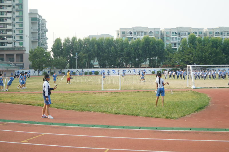 Shenzhen, China: High School Students Sports Division. Baoan District, Shenzhen Bay high school, on the playground, the students are on the Sports Division royalty free stock photo