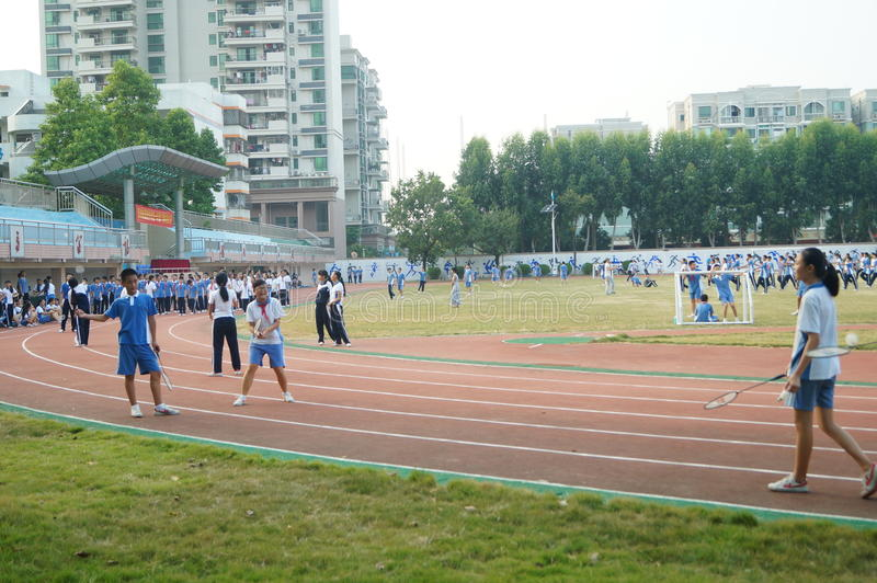 Shenzhen, China: High School Students Sports Division. Baoan District, Shenzhen Bay high school, on the playground, the students are on the Sports Division royalty free stock image