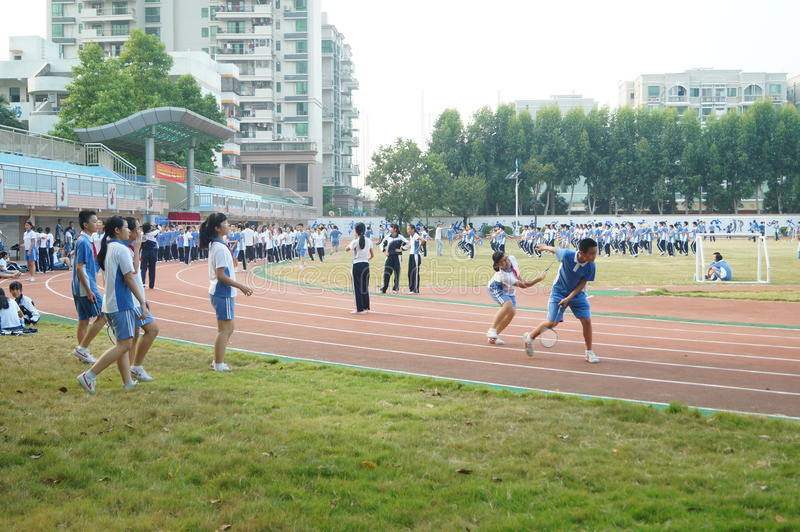 Shenzhen, China: High School Students Sports Division. Baoan District, Shenzhen Bay high school, on the playground, the students are on the Sports Division royalty free stock photography