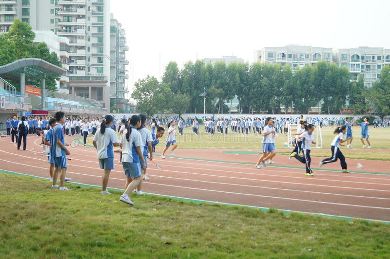 Shenzhen, China: High School Students Sports Division. Baoan District, Shenzhen Bay high school, on the playground, the students are on the Sports Division stock photography