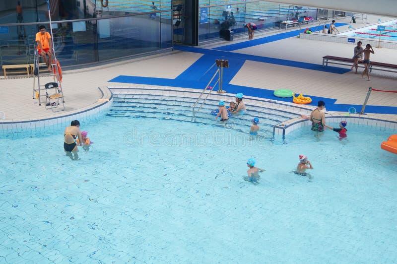 Shenzhen, China: Leute, die im Swimmingpool schwimmen stockfotos