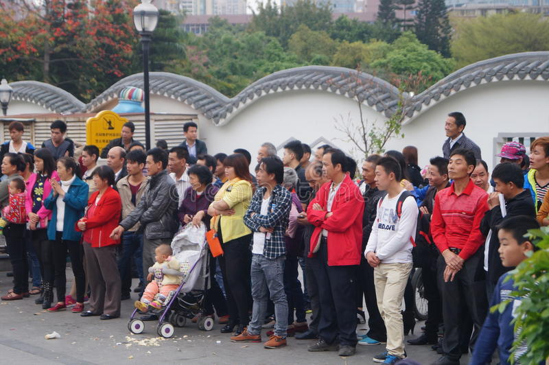 Shenzhen, China: people with disabilities in the singing and begging. Shenzhen Baoan Xixiang, persons with disabilities in the singing and begging. Citizens are royalty free stock photo