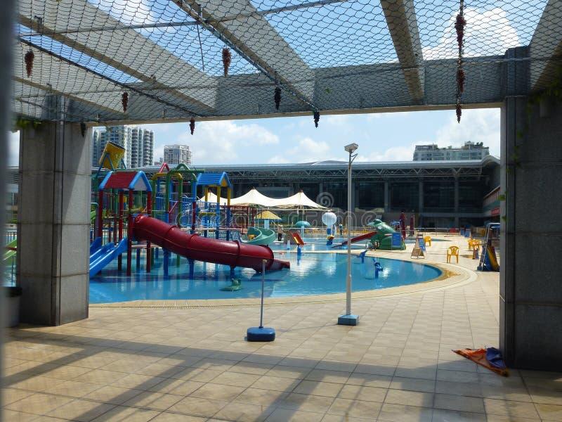 Shenzhen, China: recreation facilities at the swimming pool. Shenzhen Baoan Sports Center swimming pool, water skiing and other recreational facilities stock photo