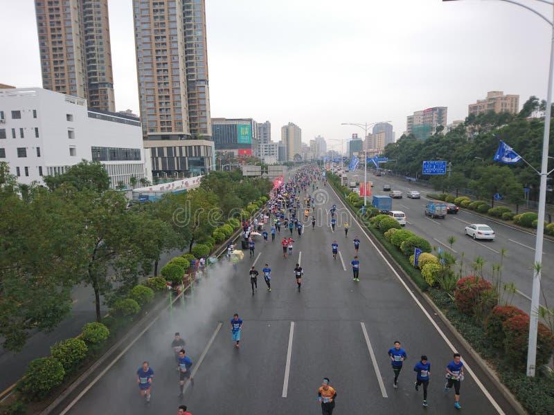 Shenzhen, China: runners run during the baoan international marathon royalty free stock photos