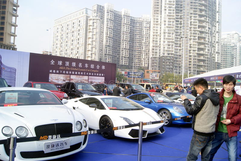 Shenzhen, china: second-hand cars sales. Shenzhen Baoan Sports Center, second-hand cars exhibition held. BMW, Mercedes Benz, Porsche etc. famous car, attracted stock photography