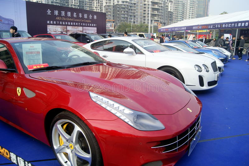 Shenzhen, china: second-hand cars sales. Shenzhen Baoan Sports Center, second-hand cars exhibition held. BMW, Mercedes Benz, Porsche etc. famous car, attracted royalty free stock photos