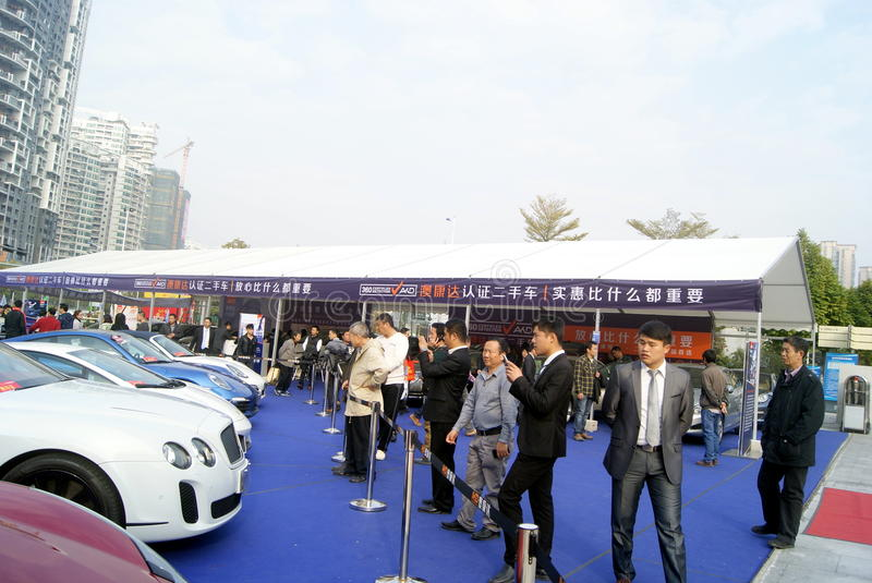 Shenzhen, china: second-hand cars sales. Shenzhen Baoan Sports Center, second-hand cars exhibition held. BMW, Mercedes Benz, Porsche etc. famous car, attracted stock photo