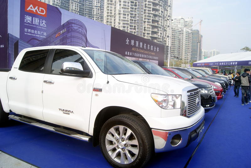 Shenzhen, china: second-hand cars sales. Shenzhen Baoan Sports Center, second-hand cars exhibition held. BMW, Mercedes Benz, Porsche etc. famous car, attracted royalty free stock image
