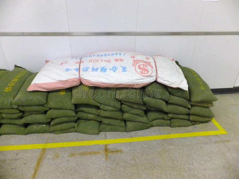 Shenzhen, China: special flood control sandbag stock images