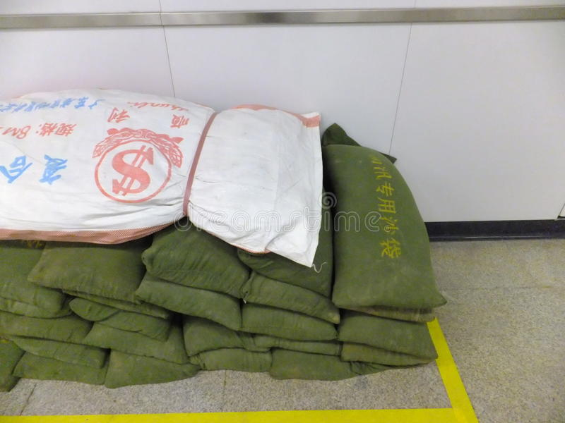 Shenzhen, China: special flood control sandbag royalty free stock photo