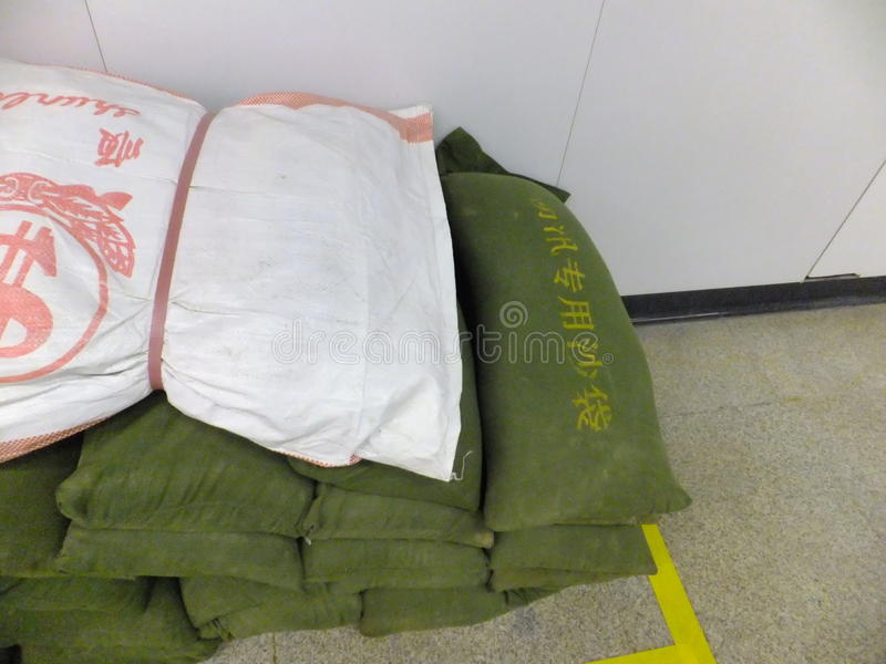 Shenzhen, China: special flood control sandbag stock photography