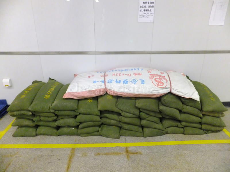 Shenzhen, China: special flood control sandbag stock photos