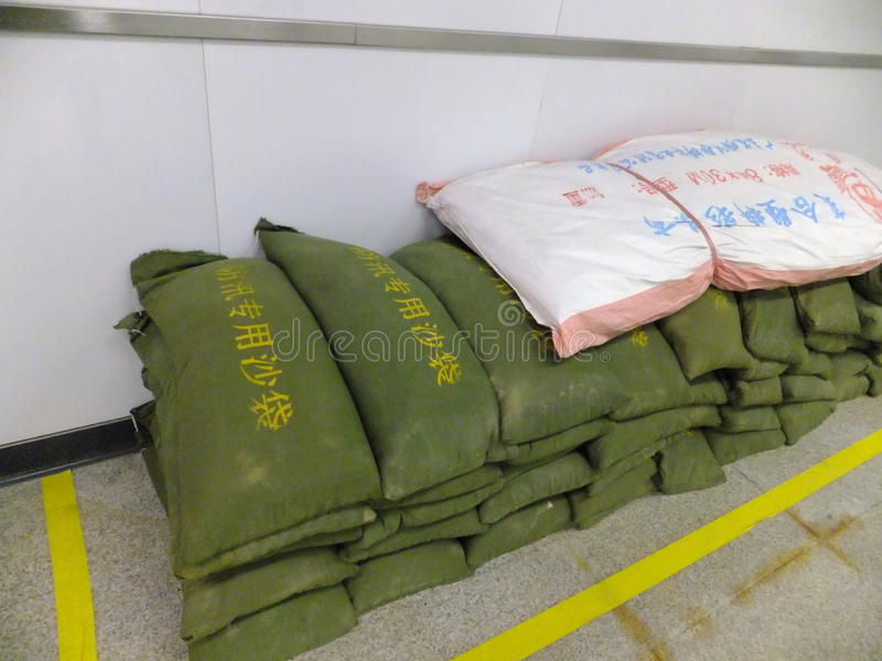 Shenzhen, China: special flood control sandbag royalty free stock image