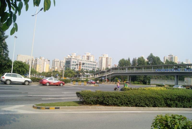 Shenzhen, China: stadsverkeer stock afbeelding