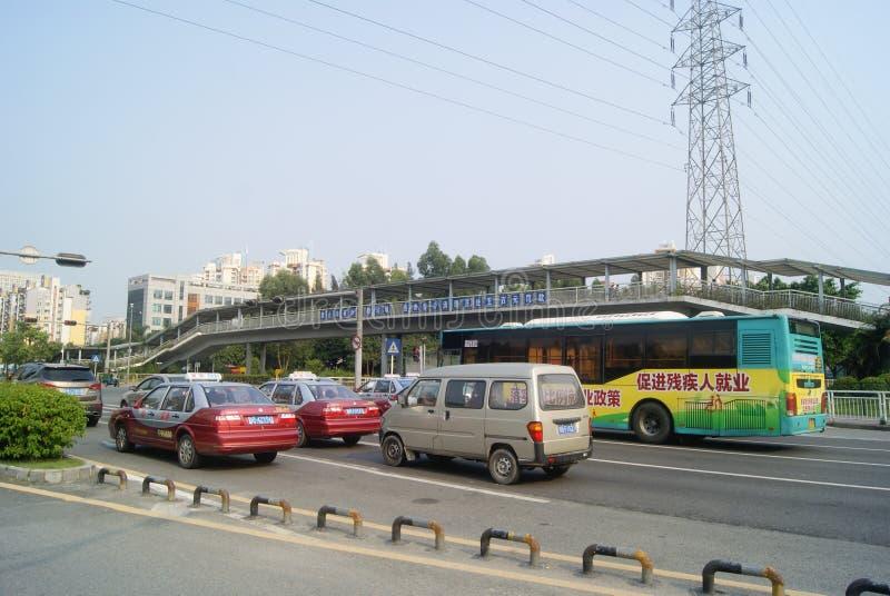 Shenzhen, China: stadsverkeer stock foto