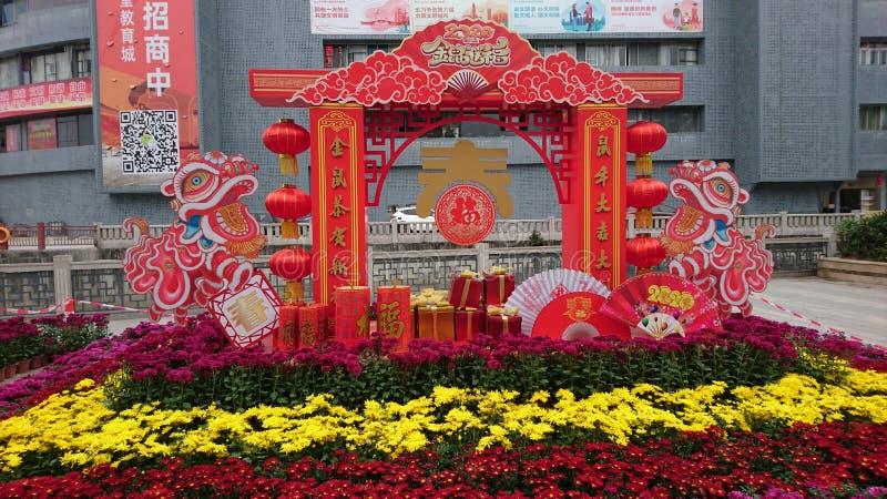 Shenzhen, China: Straßenblumen und farbenfrohe Lichter schmücken die festliche Atmosphäre, während das Frühlingsfestival näher rü lizenzfreie stockfotos