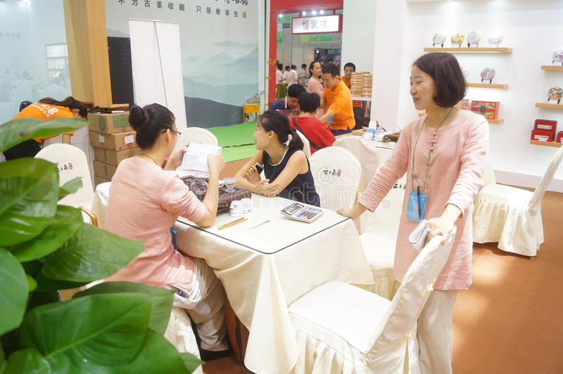 Shenzhen, China: Tea Industry Expo. The twelfth China (Shenzhen) International Tea Industry Expo Yixing, ceramics, tea products exhibition held in Shenzhen stock photos