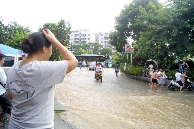 Shenzhen China: Underground Water Pipes Burst, Water Flow Into The River Editorial Image