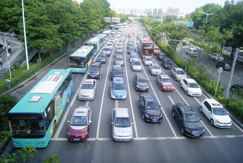 Shenzhen, China: the urban road traffic stock photography
