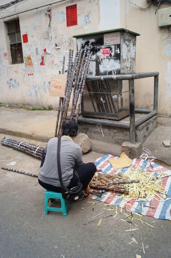 Shenzhen, China: Verkoop van suikerrietbox royalty-vrije stock foto