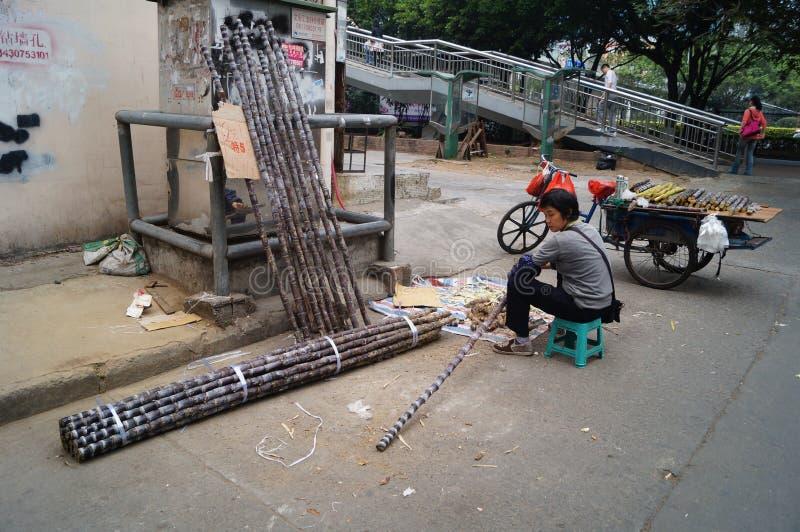 Shenzhen, China: Verkoop van suikerrietbox stock foto's