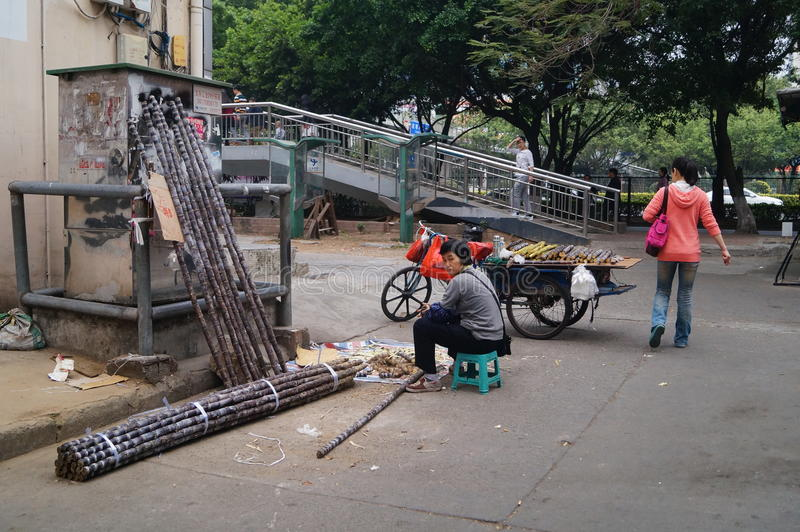 Shenzhen, China: Verkoop van suikerrietbox royalty-vrije stock fotografie