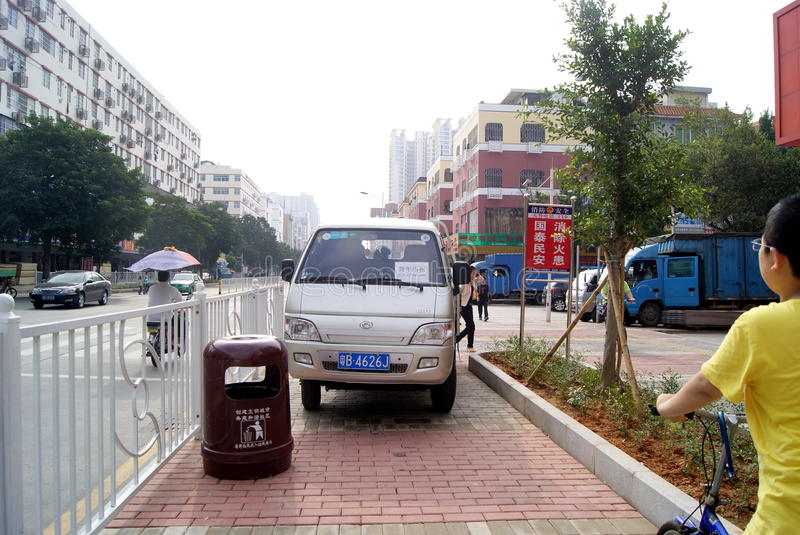 Shenzhen, china: violation of traffic rules and parking stock photography