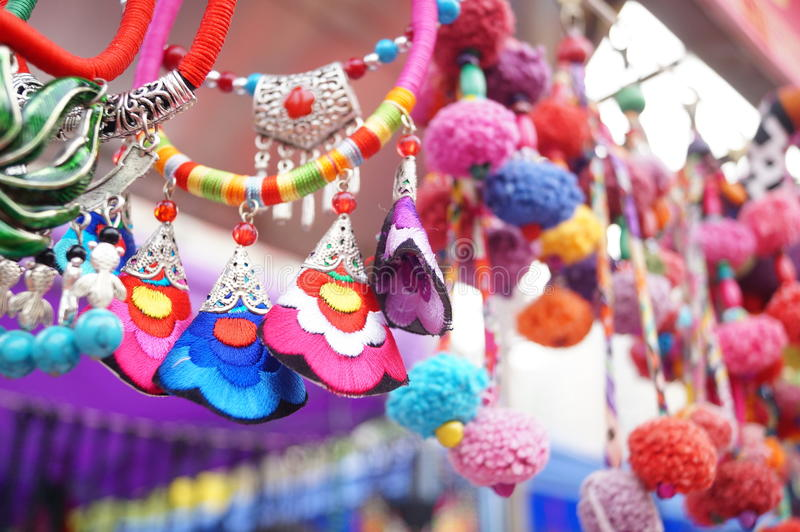 Shenzhen, China: women jewelry. Shenzhen Baoan Shopping Festival shows sales of women jewelry, these crafts products, China Miao a hairpin, rings, bags and so on royalty free stock photo